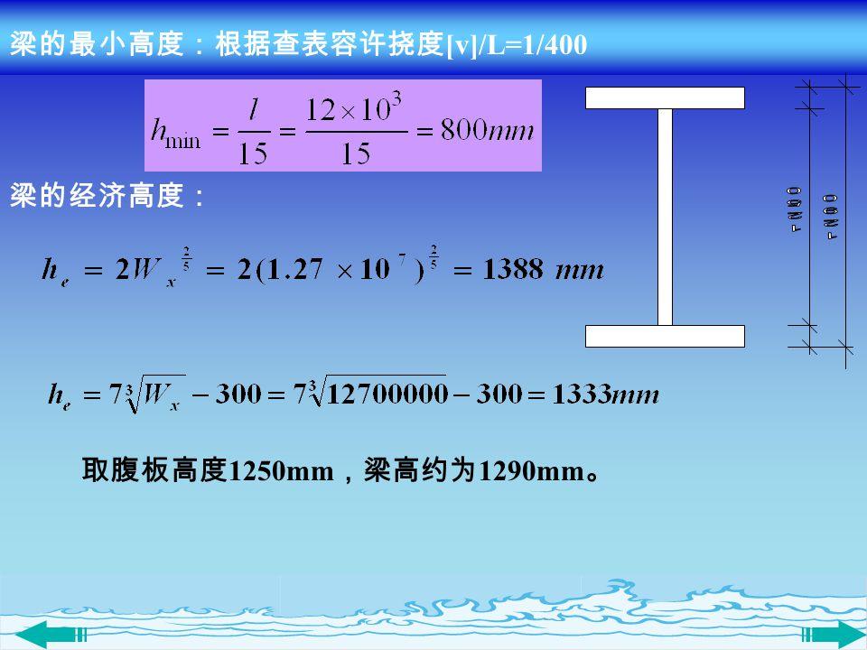 梁的最小高度:根据查表容许挠度[v]/L=1/400